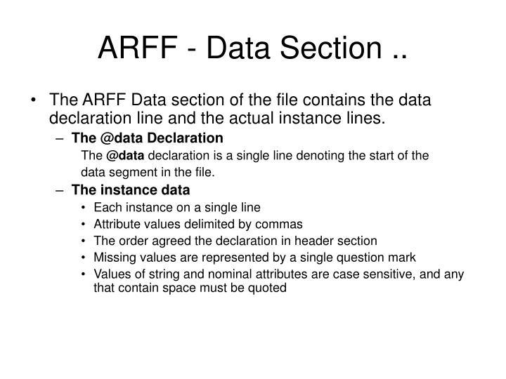 ARFF - Data Section ..