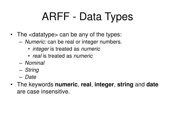 ARFF - Data Types