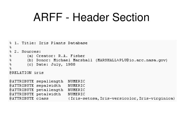 ARFF - Header Section