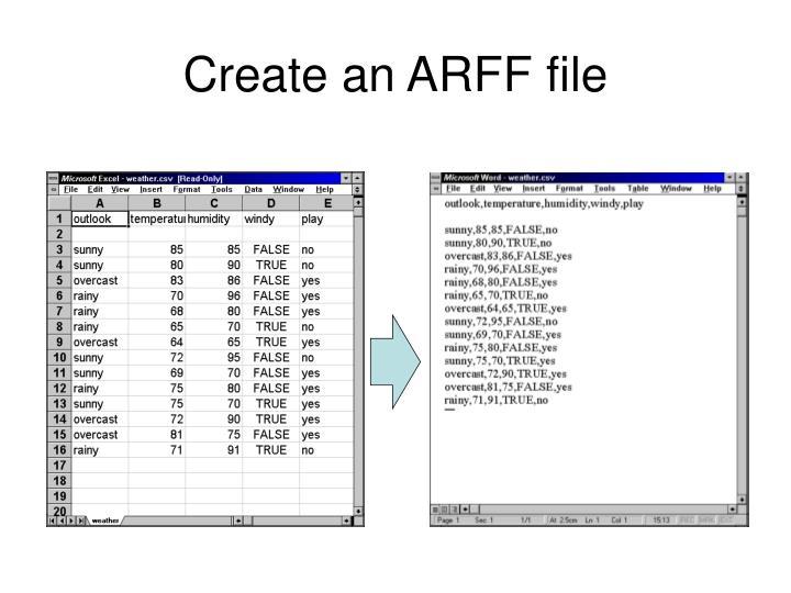 Create an ARFF file