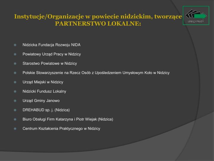 Instytucje/Organizacje w powiecie nidzickim, tworzące PARTNERSTWO LOKALNE: