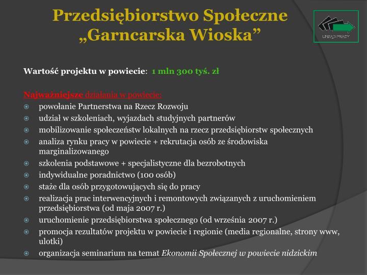 """Przedsiębiorstwo Społeczne """"Garncarska Wioska"""""""