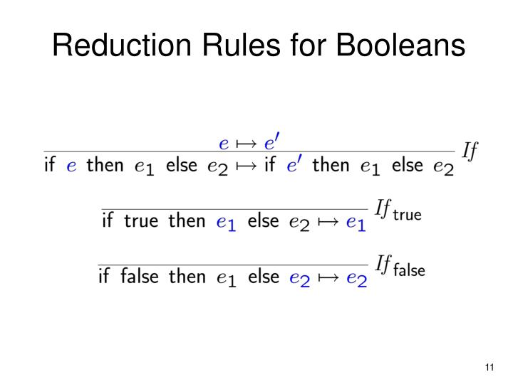 Reduction Rules for Booleans