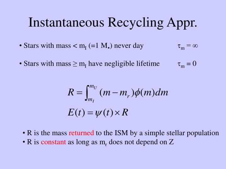 Instantaneous Recycling Appr.