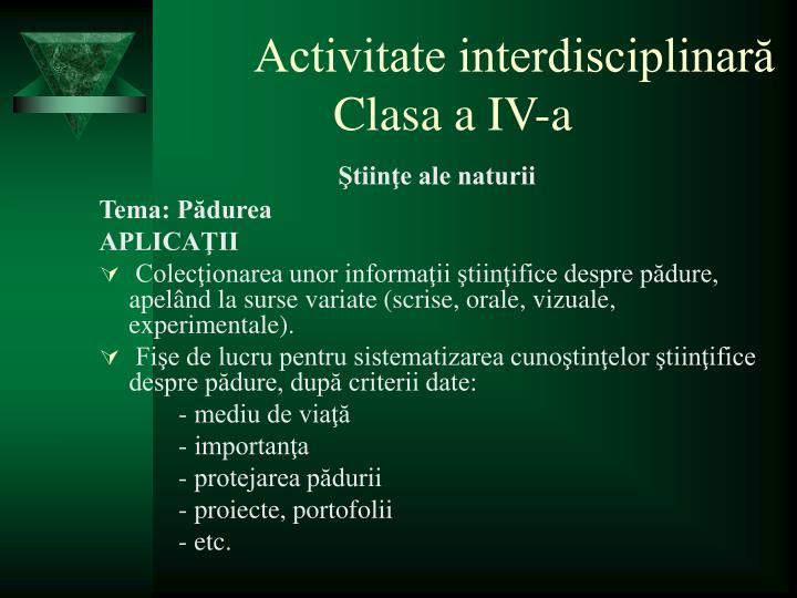 Activitate interdisciplinară