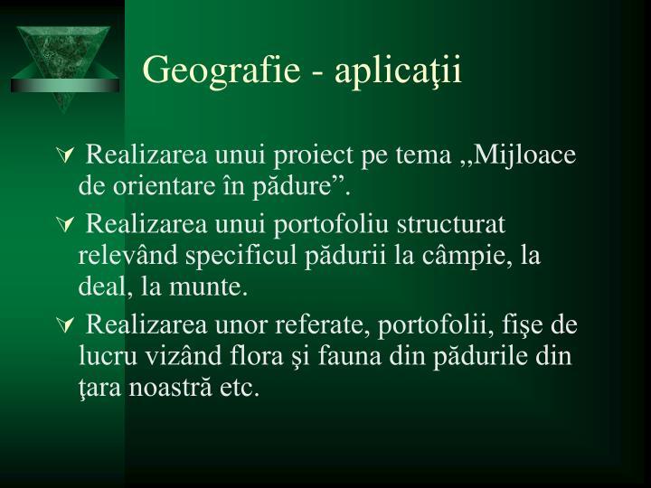 Geografie - aplicaţii