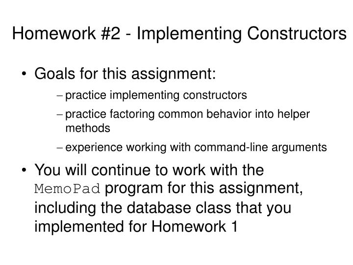 Homework #2 - Implementing Constructors