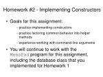 homework 2 implementing constructors