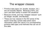the wrapper classes