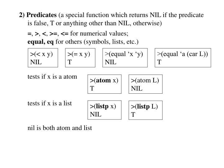 2) Predicates