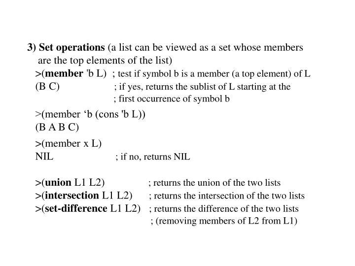 3) Set operations