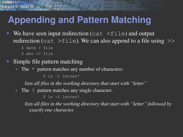 Appending and Pattern Matching