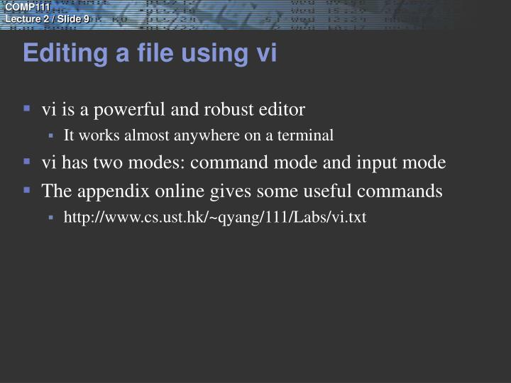 Editing a file using vi