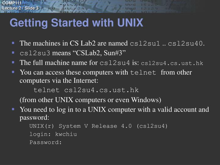 Getting Started with UNIX