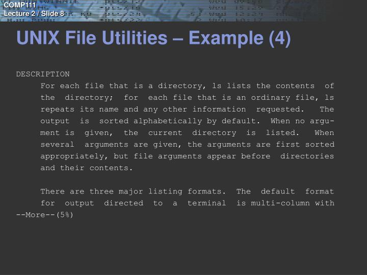 UNIX File Utilities – Example (4)