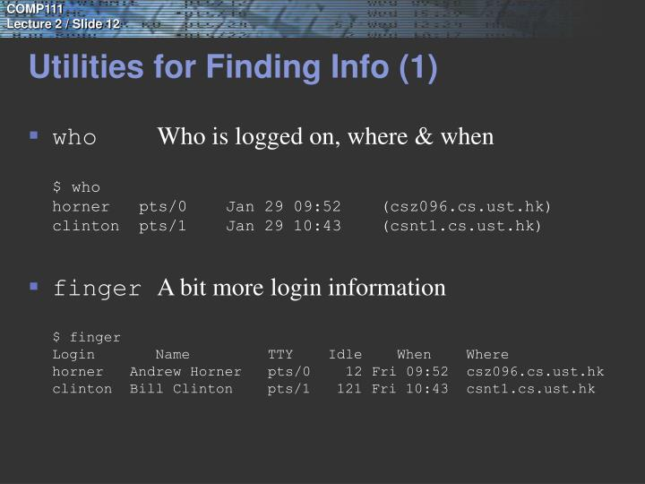 Utilities for Finding Info (1)