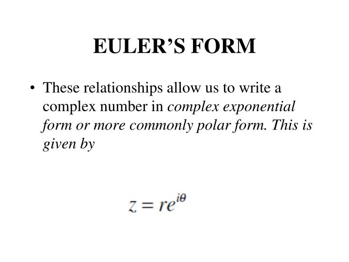 EULER'S FORM