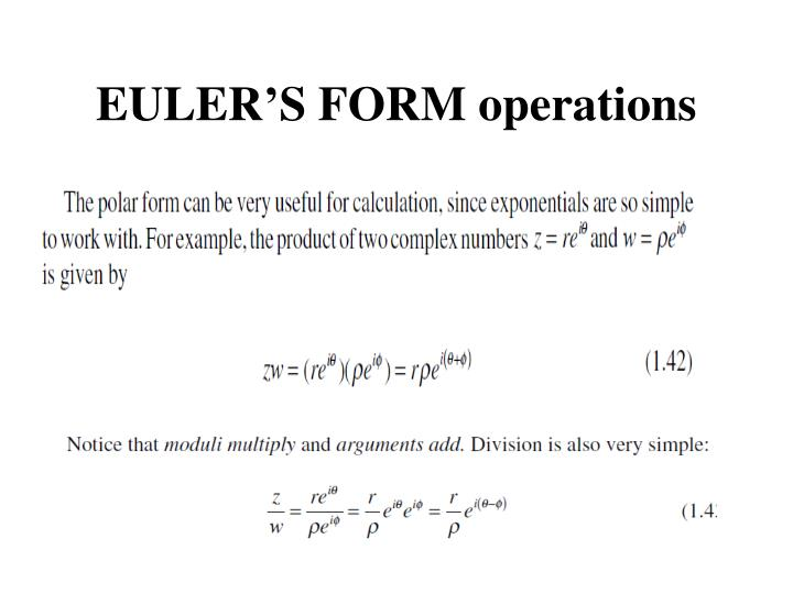 EULER'S FORM operations