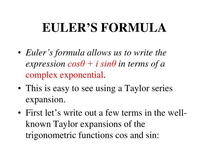 EULER'S FORMULA