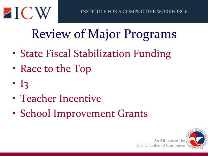 Review of Major Programs