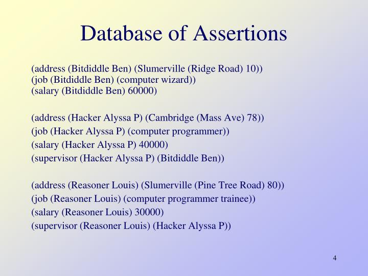 Database of Assertions