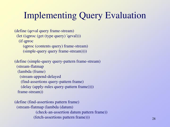 Implementing Query Evaluation