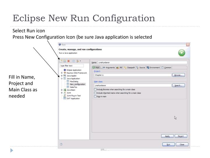 Eclipse New Run Configuration