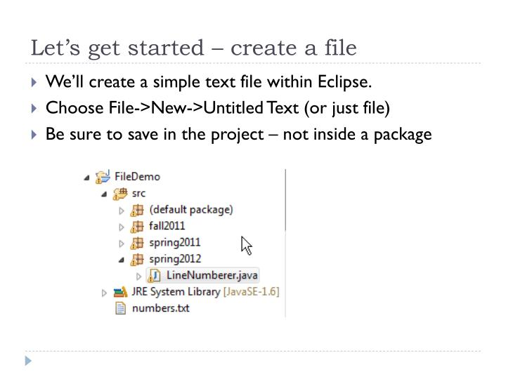 Let's get started – create a file