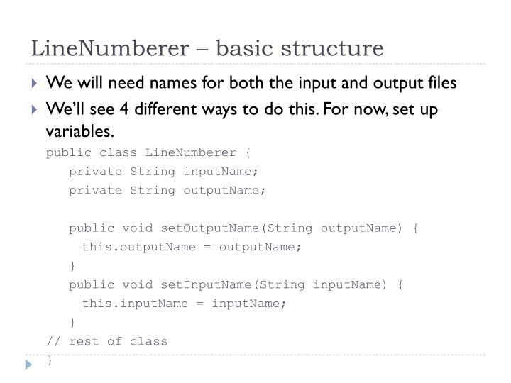 LineNumberer – basic structure