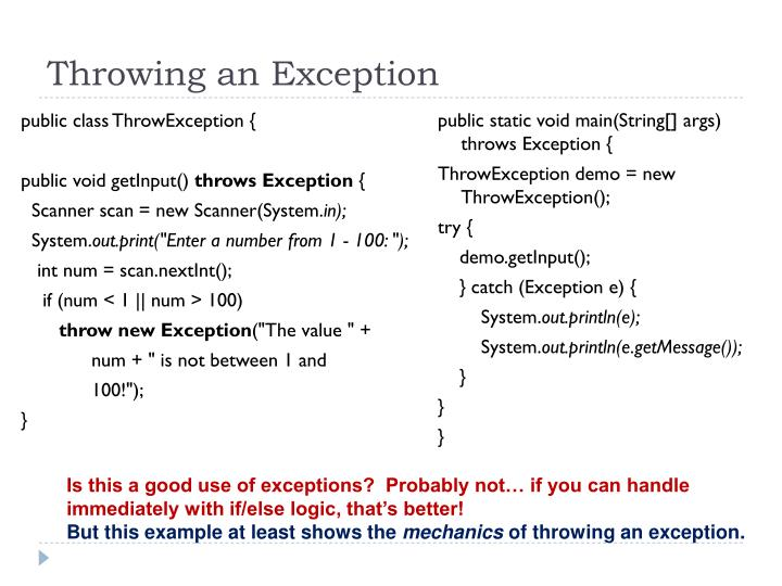 Throwing an Exception