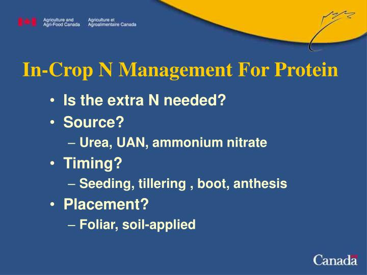 In-Crop N Management For Protein