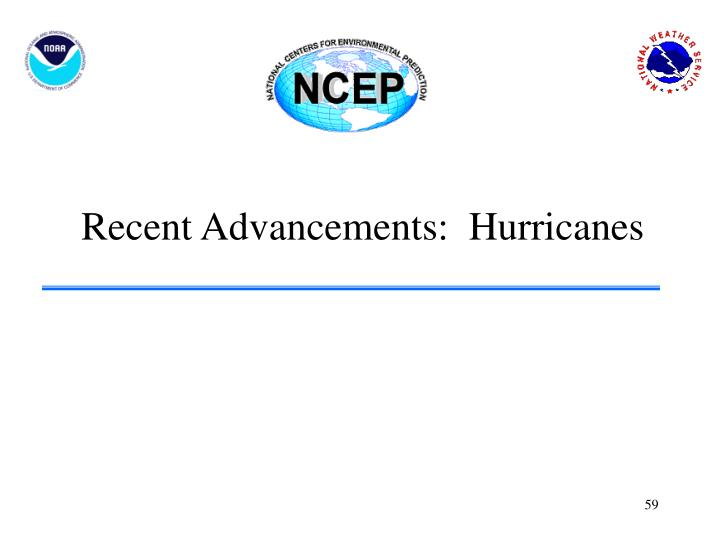 Recent Advancements:  Hurricanes