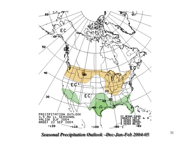 Seasonal Precipitation Outlook –Dec-Jan-Feb 2004-05
