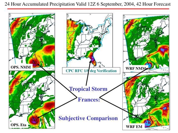 24 Hour Accumulated Precipitation Valid 12Z 6 September, 2004, 42 Hour Forecast