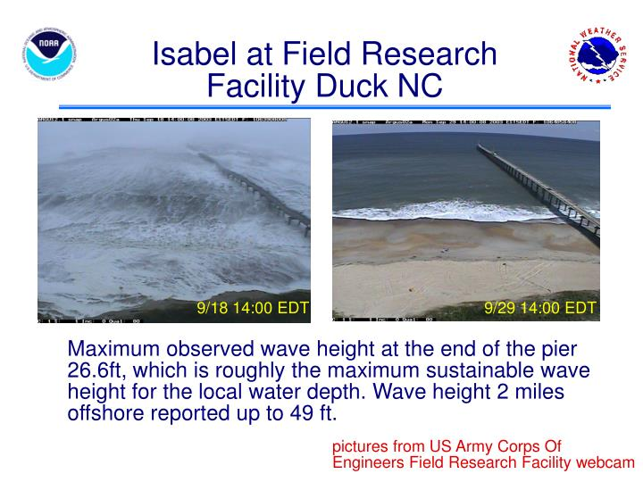 Isabel at Field Research Facility Duck NC