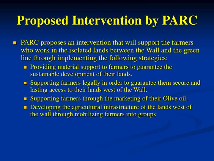 Proposed Intervention by PARC