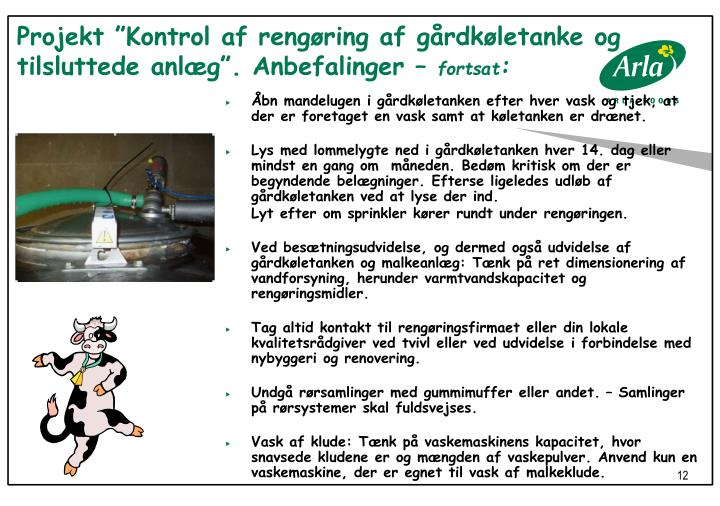 """Projekt """"Kontrol af rengøring af gårdkøletanke og tilsluttede anlæg"""". Anbefalinger –"""