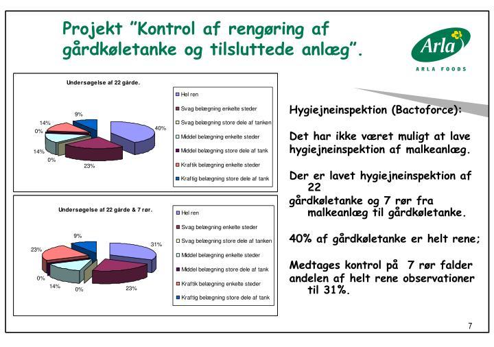 """Projekt """"Kontrol af rengøring af gårdkøletanke og tilsluttede anlæg""""."""