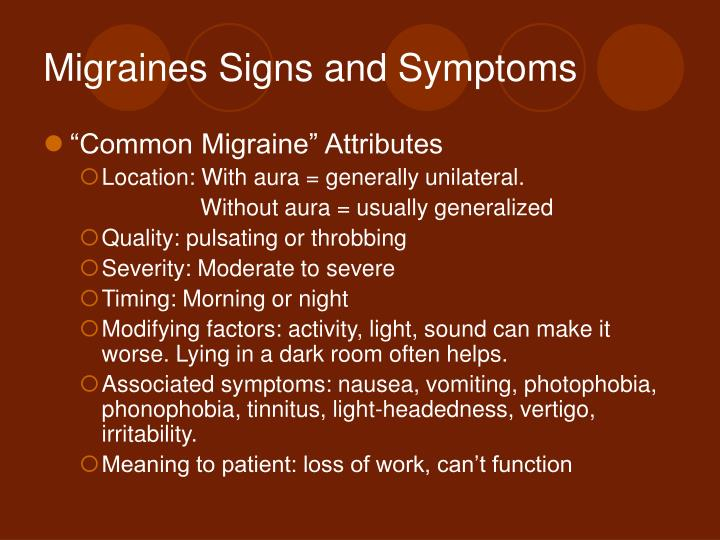 Migraines Signs and Symptoms