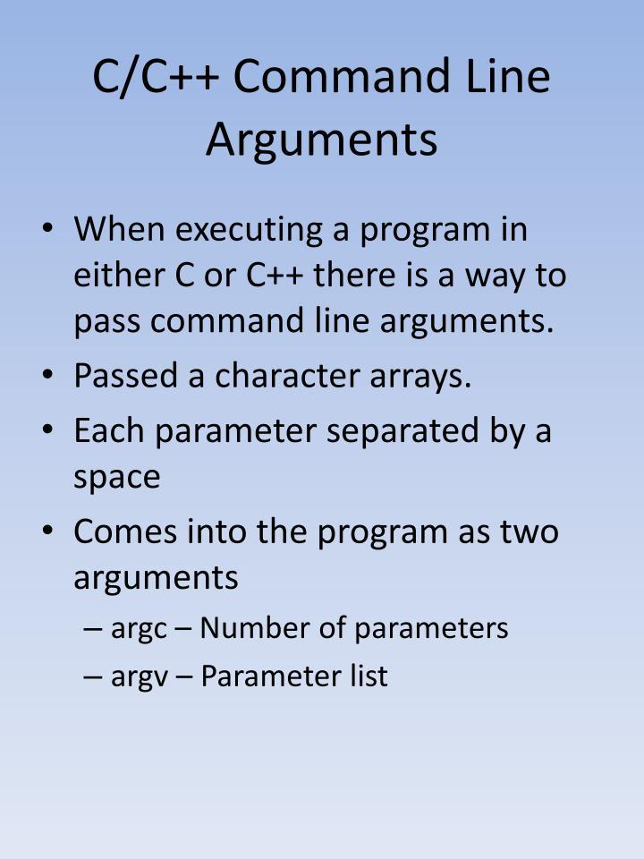 C/C++ Command Line Arguments