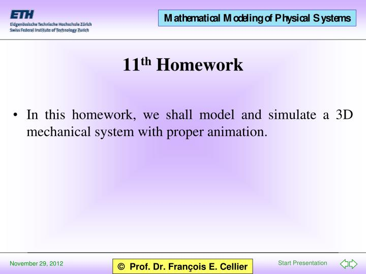 In this homework, we shall model and simulate a 3D mechanical system with proper animation.
