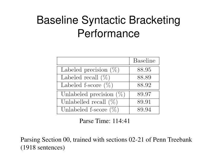Baseline Syntactic Bracketing Performance