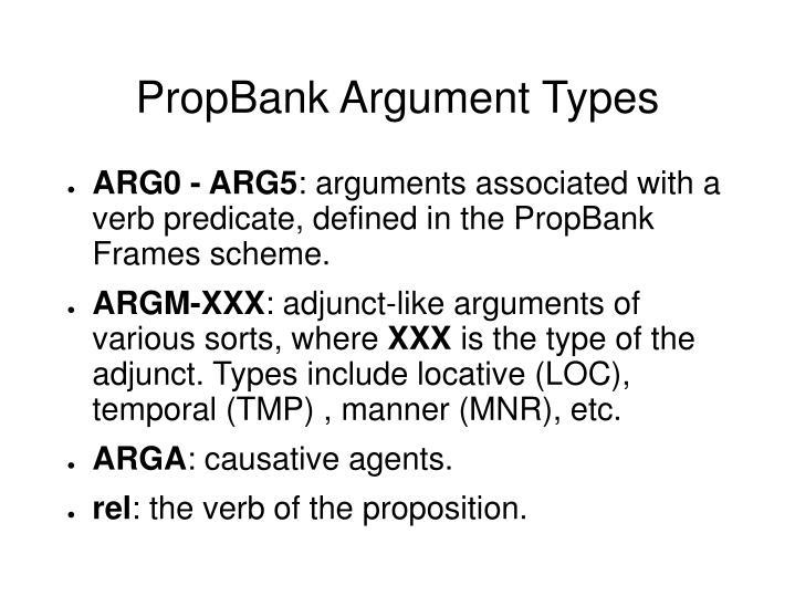 PropBank Argument Types