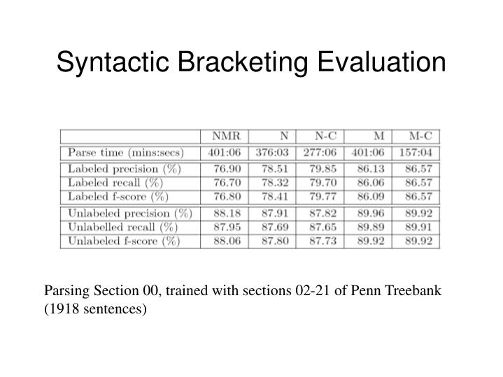 Syntactic Bracketing Evaluation