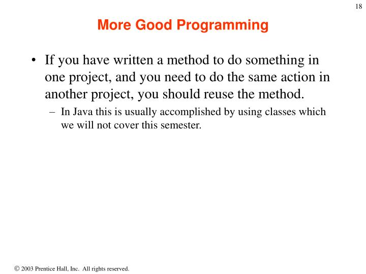 More Good Programming
