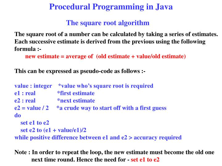Procedural Programming in Java