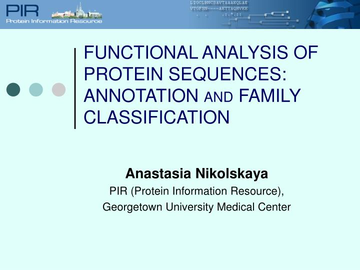 Anastasia nikolskaya pir protein information resource georgetown university medical center