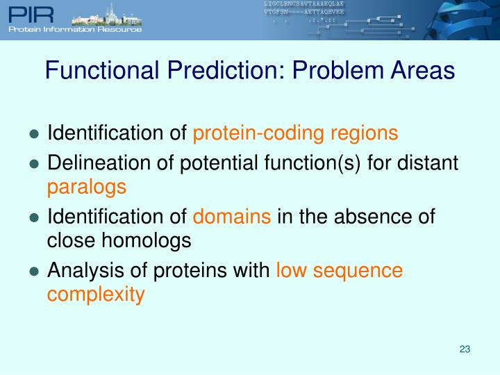 Functional Prediction: Problem Areas