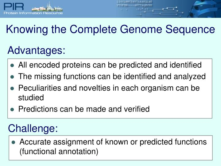 Knowing the Complete Genome Sequence