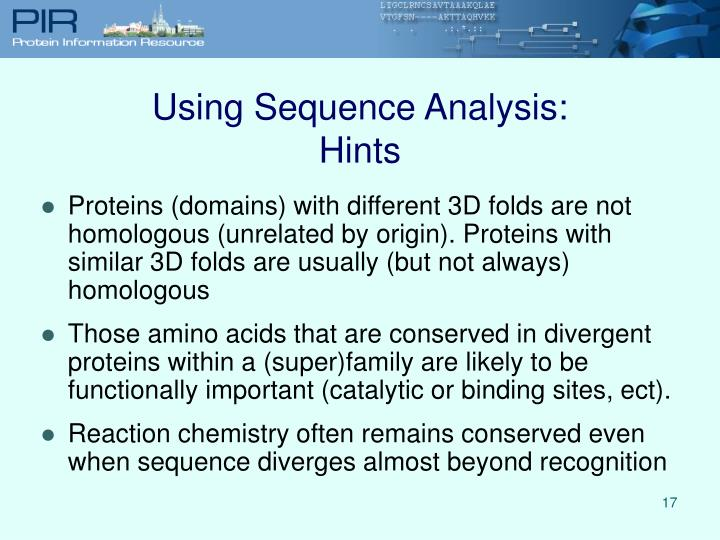 Using Sequence Analysis: